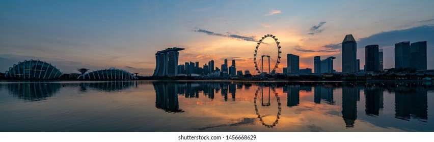Singapore - September 2018:Singapore cityscape at magic hour. Singapore is an island city-state in Southeast Asia.