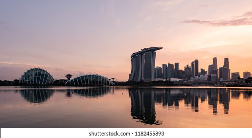 Singapore - September, 2018:Singapore skyline at dusk. Singapore is a sovereign city-state and island country in Southeast Asia.