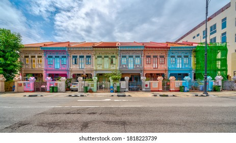 Singapore -September 2020: Panorama image of Peranakan House at Katong area. Peranakans are made up of Chinese immigrants who came to the Malay archipelago including British Malaya.