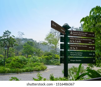 Singapore - September 22, 2019: Information signpost for visitors in the botanical garden of Singapore, near the National Orchid Garden entrance