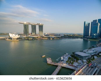 Singapore, Singapore - September 24, 2016: Aerial view of city skyline from drone at Marina Bay, Singapore