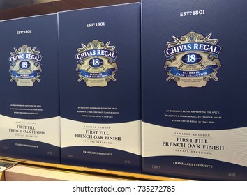 SINGAPORE - SEPTEMBER 27, 2017: Chivas Regal box and whisky bottle on display. Chivas Regal is the market-leading scotch whisky 12 years aged and more.