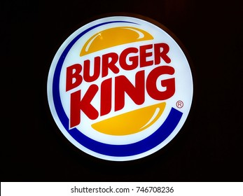 SINGAPORE - SEPTEMBER 27, 2017: Close up of Burger King logo sign on storefront. Burger King is an American global chain of hamburger fast food restaurants.