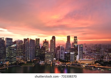 SINGAPORE - SEPTEMBER 30, 2016: Singapore city in sunset time, view from Sand Sky Park
