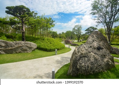 Singapore - September 9, 2018 - Clean, landscaped pathway at Gardens by the Bay in Singapore
