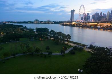 Singapore - September 9, 2018: Evening at Singapore's Bay East Garden and Marina Bay