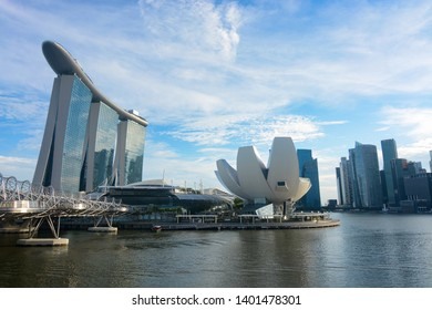 Singapore - September 9, 2018 - Wide angle view of Marina Bay Sands and the ArtScience Museum in Singapore