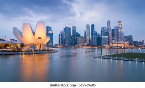 Singapore skyline background during sunset