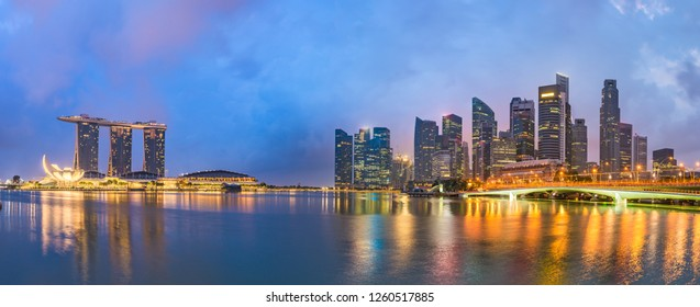 Singapore skyline at the bay before dawn.