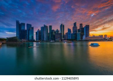 Singapore skyline at beautiful sunset