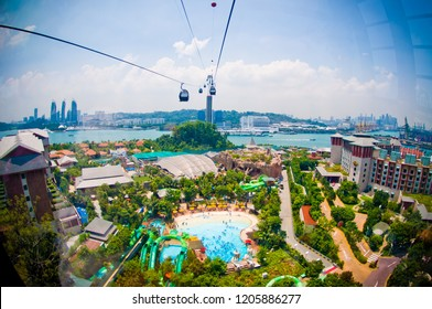 Singapore skyline by cable car in the air