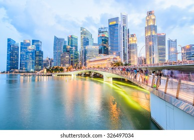 Singapore skyline city at twilight times - bright processing style pictures