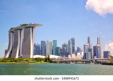 Singapore skyline and Marina Bay