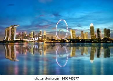 Singapore skyline and Marina Bay at dusk