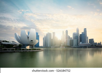 Singapore skyline at the Marina during twilight, Singapore cityscape