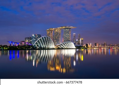Singapore skyline at the Marina during twilight.