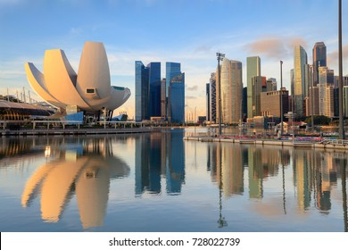Singapore skyline at the Marina during twilight, View of Marina Bay in Singapore cityscape, Singapore