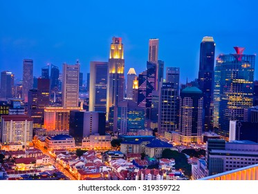 Singapore Skyline And Modern Skyscrapers In Chinatown. Chinatown Is An Ethnic Neighborhood Featuring Distinctly Chinese Cultural Elements And A Historically Concentrated Ethnic Chinese Population