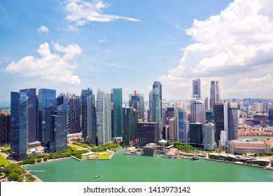 Singapore skyline with modern urban skyscrapers