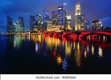 The Singapore skyline at night from across the bay.