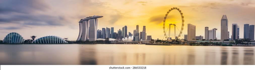 Singapore skyline panorama in 2015