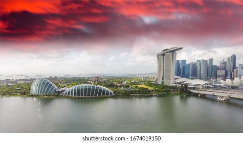 Singapore skyline. Panoramic view from drone at sunset. Buildings and skyscrapers