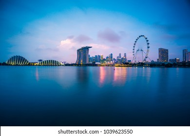 Singapore skyline at sunset in Singapore city Panorama