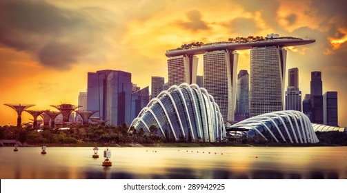 Singapore skyline at sunset with skyscrapers