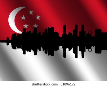 Singapore skyline with their rippled flag illustration