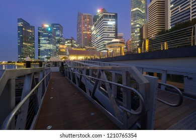Singapore Skyline. View of financial district, blue sky in morning.