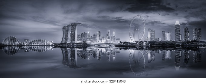 Singapore Skyline and view of skyscrapers on Marina Bay, black and white