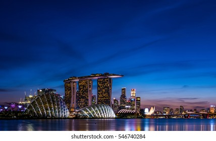 Singapore skyscrapers at dusk