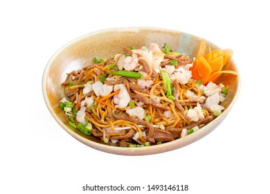 Singapore Style Chinese Three Flavored Noodle with Beef, Chicken, Shrimp vegetables in bowl plate isolated on white background.