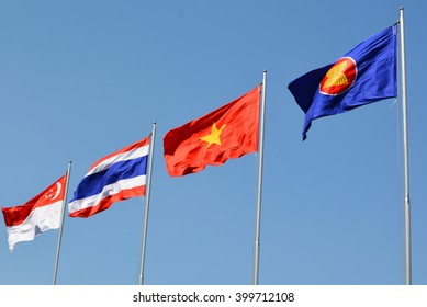 Singapore, Thailand, Vietnam, Asean, Large Fabric Flags, Blue Sky, Windy Day
