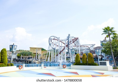 SINGAPORE, Universal Studio - September 29, 2018: attractions in the amusement Park Universal Studios in Singapore