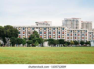 SINGAPORE-01 JUN 2018:Singapore colorful residential building HDB skyline
