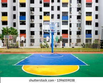 SINGAPORE-02 MAR 2019: Sinapore colorful hdb facade and the outdoor basketball playground