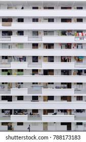 SINGAPORE-05 JAN 2017: Singapore HDB residential building facade