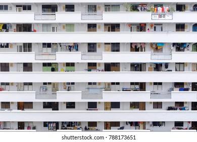 SINGAPORE-05 JAN 2017: Singapore HDB residential building area facade