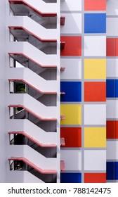 SINGAPORE-05 JAN 2018: colorful  Singapore HDB residential building facade