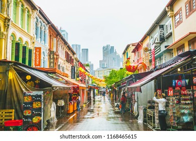 Singapore-05.08.2018:  Singapore's Chinatown with colorful Chinese buildings, restaurants and lanterns. Singapore