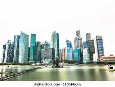 Singapore-06.08.2018: Panorama of Singapore city skyline,Marina Bay with Financial District skyscrapers buildings . Singapore
