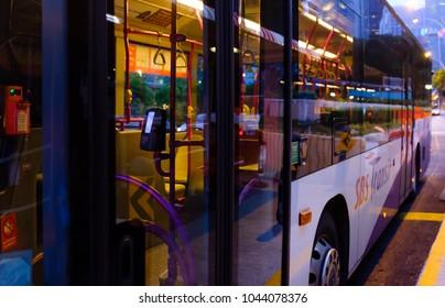 SINGAPORE-10 MAR 2018: Singapore  SBS transit public bus night sight