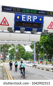SINGAPORE-10 MAR 2018:Singapore ERP system on street at downtown