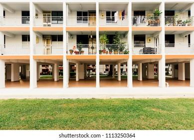 SINGAPORE-12 JUN 2018:Singapore high density residential building HDB facade