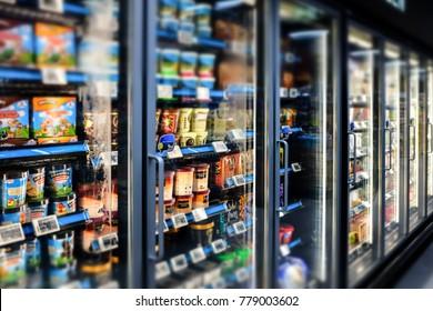 SINGAPORE-15 DEC 2017:ice cream display in fridge in super market