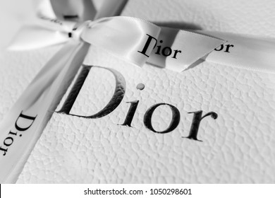 SINGAPORE-17 MAR 2018:Logo of DIOR on the gift box. Producer and maker of fashion