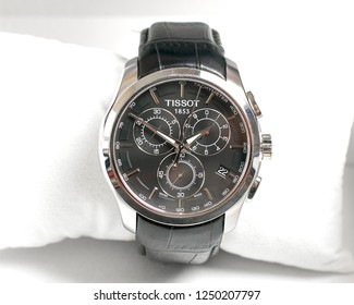 SINGAPORE-20 november 2018:The Tissot Quartz watch in the original box on white background. Tissot is a luxury Swiss watchmaking company founded in Switzerland.