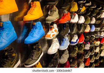 SINGAPORE-21 JAN 2017: Nike Jordan series basketball shoes display  in shopping mall