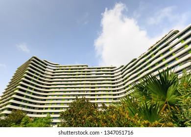 SINGAPORE-23 MAR 2019:Singapore Punggol area Water terrace residential building